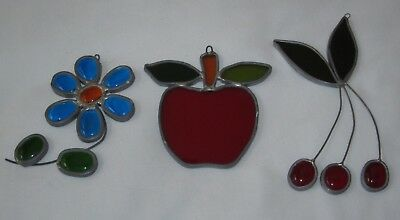 Lot of 3 Vintage Leaded Stained Glass Suncatchers Window Art Fruit Daisy Apple
