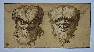 OLD MASTER Italian School. A Study of Two Grotesque Heads on a laid paper.