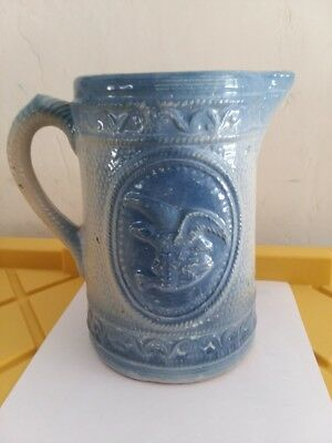 Antique Blue and White Stoneware Pitcher Rare with eagle, shield, arrows
