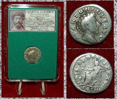 Roman Empire Coin MARCUS AURELIUS Concordia Seated on Reverse Silver Denarius