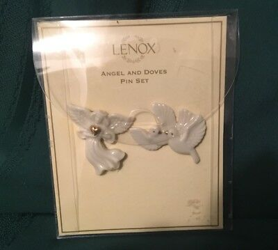 Lenox Angel & Dove Pin Set New Hand Crafted Ivory Decorated 24 K  Gold Stunning
