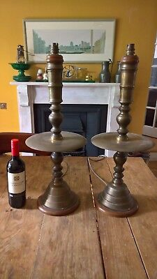 Pair of 61cm high wood and engraved brass unusual vintage lamps