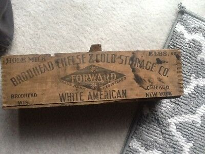 Vintage Wooden BRODHEAD Forward Cheese Box -  5 LBS. Wis/Chicago/NY Dovetailed