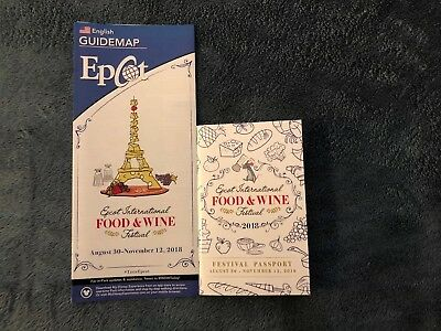 Disney 2018 EPCOT Food Wine Festival Guide Map And Passport Book