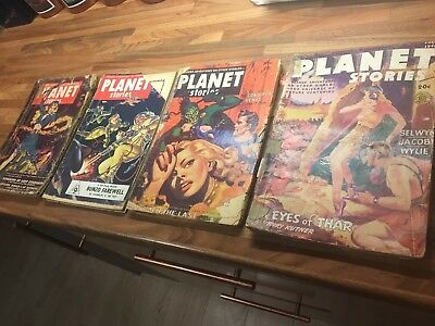 4 x Planet Stories Magazine 1940s and 1950s - Pulp magazines