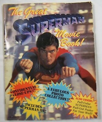 Vintage Superman The Movie History Poster Color Book Facts Historical Collector