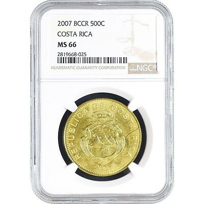 Costa Rica 500 Colones 2007 Coin NGC MS 66 KM# 239.1a
