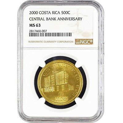 2000 Costa Rica 500 Colones 50 Years Central Bank NGC MS 63 KM 263
