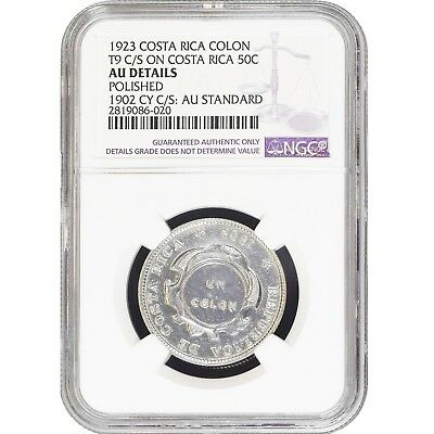 Costa Rica 1 Colon 1923 T9 C/S on 1902 50 Cent NGC Authentic Silver Coin KM# 164