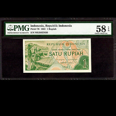 Republik Indonesia 1 Rupiah 1961 PMG 58 Choice About UNC EPQ P-78
