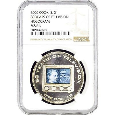 Cook Islands $1 2006 80 Years of Television Hologram NGC MS 66 KM# 1428
