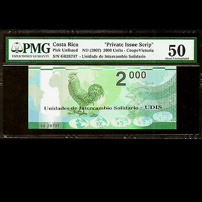 Costa Rica 2000 UDIS 2007 CoopeVictoria PMG 50 About UNC Private Issue Scrip