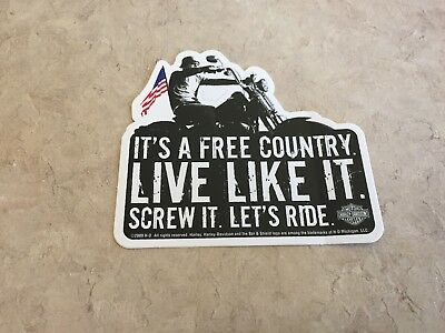Harley Davidson sticker collectible motorcycle biker decal Its A Free Country