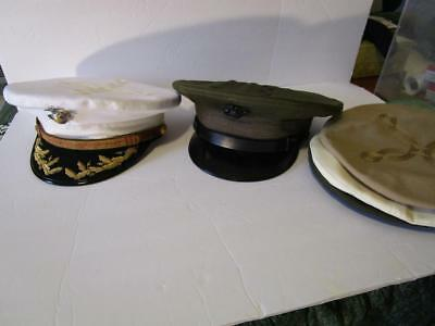 Marine Corps Colonels Uniform Visor's & Covers ID'ed Served WW2 - Vietnam
