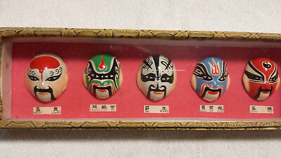 Chinese Painted Face Opera Masks Miniature, Framed, In Tapestry Box, labeled