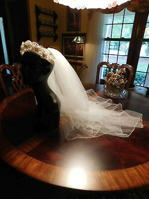 Vintage Antique White Or Off-White Pearl Headpiece And Full 2-Layer Veil