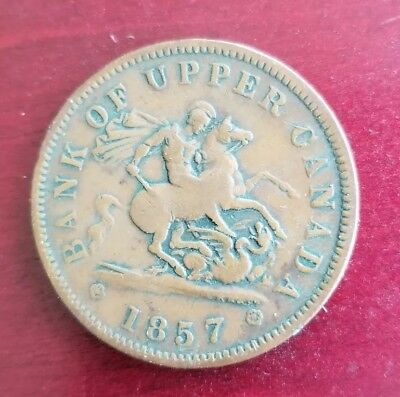 1857 Bank Upper Canada Copper One Half Penny Circulated Canadian