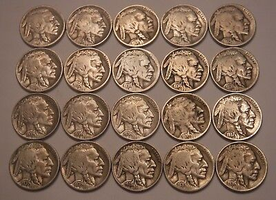 Half Roll of 20 FULL DATE Buffalo Nickels--Includes 8 from the Teens and 20's!