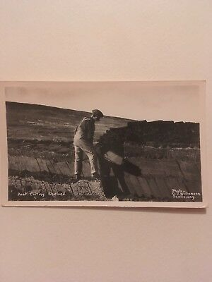 Postcard Peat Cutting Shetland Photograph C J Williamson