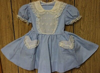 Vintage 50's Toddler Dress Blue Cotton Eyelet Dress Heart Pockets Dolls 2T