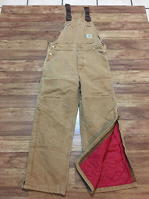 MENS 36 x 30 - Vtg Carhartt R02 Duck Quilted Insulated Work Overall Bib MADE USA