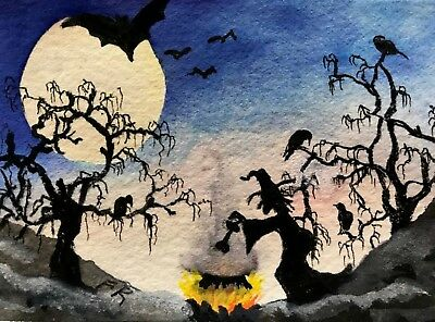 ACEO Original   The Cookout.        Halloween witch, moon, bats