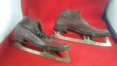 RARE Antique vintage Union Ice Skates attached to Diamond Brand leather shoes