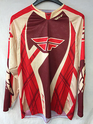 Fly Racing 208 Evolution X-Large Jersey Cream/Burgundy/Red 100% Polyester