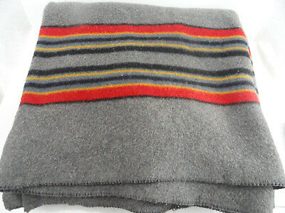 Pendleton Striped Wool Blanket Gray Red Black Gold 89x85 Queen