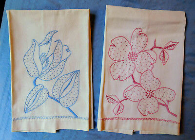 Vintage linen guest hand towels embroidered set 2 w/ one pink, one blue