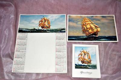 3 Pc Unused Set Antique Stationery Sailing Ships, 1936 Calendar Sheet, 2 Notes