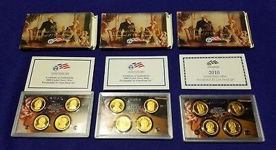 2008, 2009 & 2010 Usa Presidential Dollar 4-Coin Proof Sets