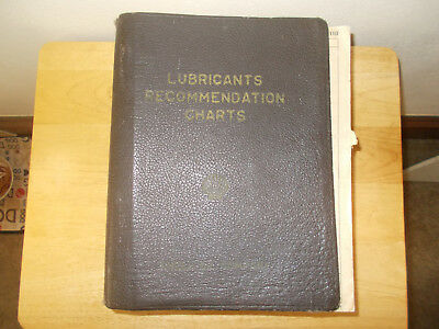 1950's SHELL OIL CO LUBRICANTS RECOMMENDATION CHARTS BOOK FROM ALL OVER COUNTRY