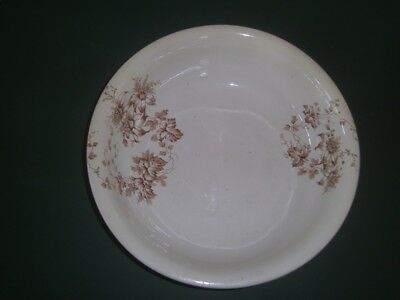 "Antique Ironstone Brown Transfer ware Wash Bowl Basin 16"" x 4.5"""