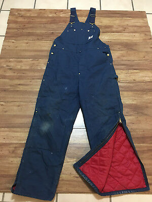 MENS 38 x 32 - Carhartt R02 Duck Double Knee Quilted Donut Hole Work Overall Bib
