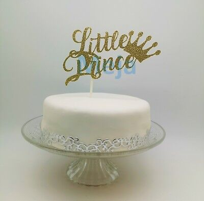 Happy Birthday Cake Pick Topper Decoration Little Prince Gold New Calligraphy