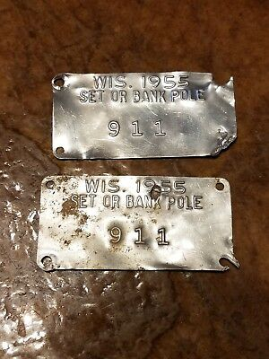 Vintage Lot 2 Telephone Electric Pole Tags 1955 wisconsin