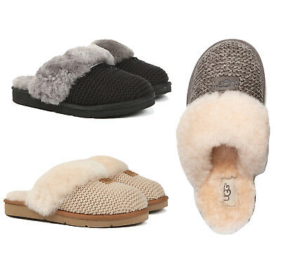 UGG Women's Shoes Cozy Knit Slippers Sandals Shoes Black Cream Charcoal New