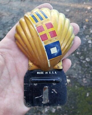 Vintage Shell Gas Oil License Plate Topper 1940's