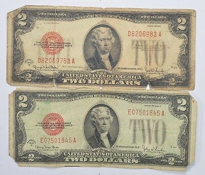 Lot (2) Red Seal $2.00 US 1928-G Notes - Currency Collection *243