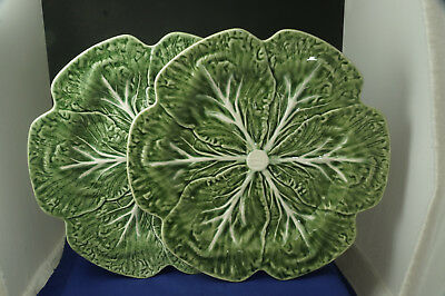 """Two Bordallo Pinheiro 10 1/2"""" Dinner Plates, Cabbage Pattern, Perfect Condition"""