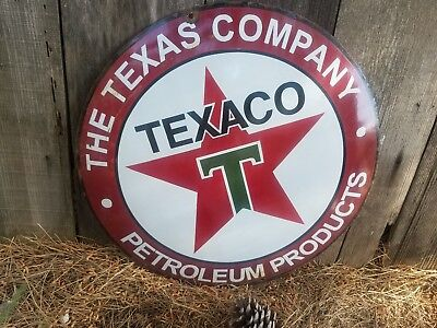 """""""Texas CO"""" gas and oil 20x20 Vintage Steel porcelain old Convex sign."""