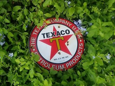 """""""Texas CO"""" gas and oil 12x12 Vintage Steel porcelain old  sign."""