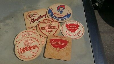 Instant Wi. Beer Coaster Mini Collection, Chief Oshkosh, Kingsbury, Gettelman