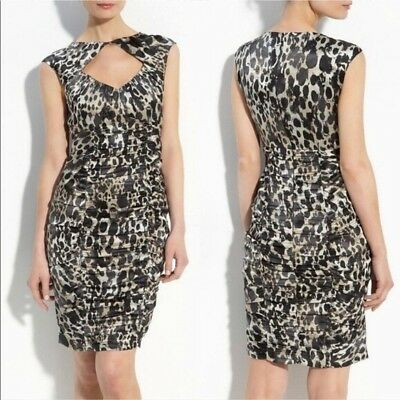 57bcd85d8aed Nanette Lepore Fiery Angel Cutout Leopard Animal Ruched Silk Midi Dress 10