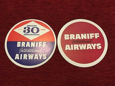 2 BRANIFF INTERNATIONAL AIRWAYS Airline Rare Label AIR LINE COMMERCIAL AVIATION