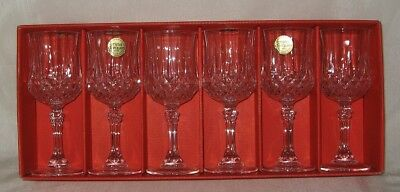 Crystal d'Arques 6 Longchamp Wine Goblets New 3.5 Ounce
