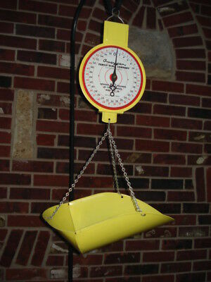 Vintage American Family Scale Co. Hanging Scale Yellow 60 Pound Produce Scale