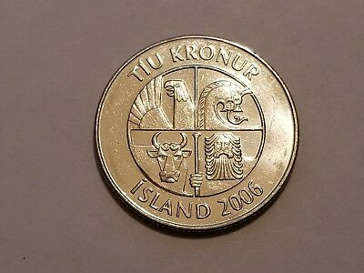 2006 Iceland - 10 Krónur   KM#29.1a   Depicts the Guardian Spirits