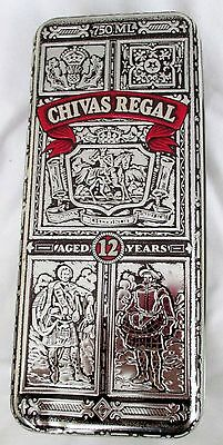Chivas Regal Scotch Vintage 1980's Embossed Hinged Tin Box. Scotland